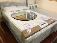 New Silver / grey Crushed velvet 4ft6 double bed with scroll ends Only £199 pic 1