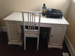 IKEA White Desk, Chair and Bookcase