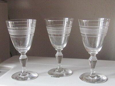 3 Stück Gläser Weinglas 19. Jhrdrt. Ätzdekor mundgeblasen