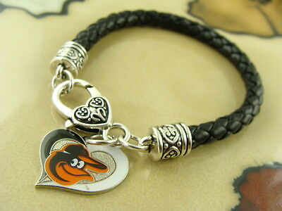 - BALTIMORE ORIOLES baseball MLB AMINCO charm Black leather sports GIFT bracelet