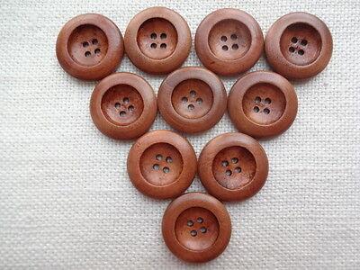 10 Holzknöpfe ~ mittelbraun ~ 4 Löcher ~ erhabener Rand ~ 25 mm