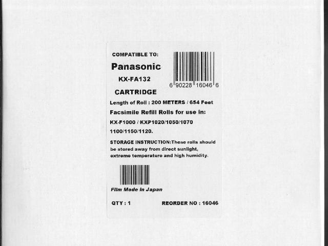 New KX-FA132 Fax Cartridge for Panasonic KX-F929 KX-F986 KX-F1000 KX-F1006