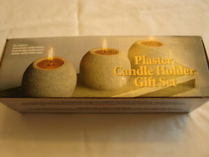 Plaster Candle Holder Gift Set - New