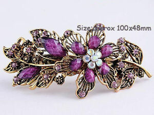 Pink or Plum Purple Rhinestone Crystal Hair Barrette - New