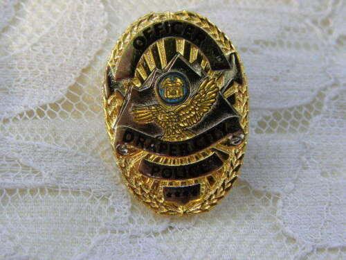 Officer Badge Pin Draper City Utah Police Mini Hat Lapel Metal Gold Tone