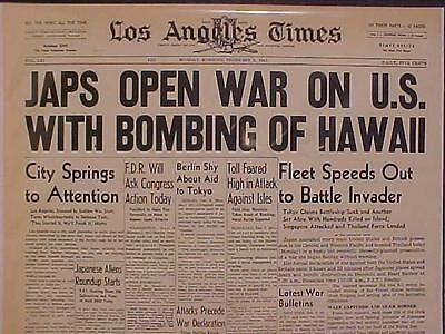 Vintage Newspaper Headline   World War 2 Japanese Planes Bomb Hawaii Start Wwii