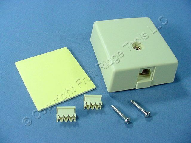 Leviton Ivory Surface Mount Modular Phone Jack Type 103 & 110 8-Wire 41038-IDA