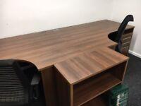 office furniture 1.6 meter walnut desk with pedstals