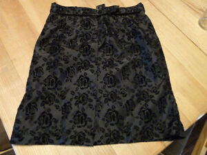 Size 8 Woman's Skirt Black with Embossed Flowers Kingston Kingston Area image 1