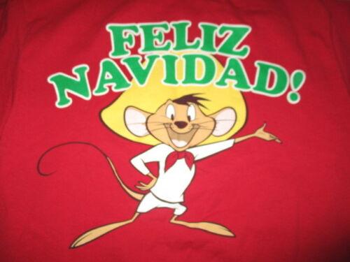 """Loney Tunes Speedy Gonzales """"FELIZ NAVIDAD!"""" (MED) T-Shirt MERRY CHRISTMAS"""