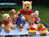 Winnie the Pooh and friends - Disney branded cuddly toys from £2 to £12 per toy - Bundle price £50