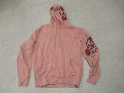 Hoxton denim pink snake & flower design hoodie top adult women size