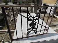 old ornate cast iron step stair railing & gate or garden detail