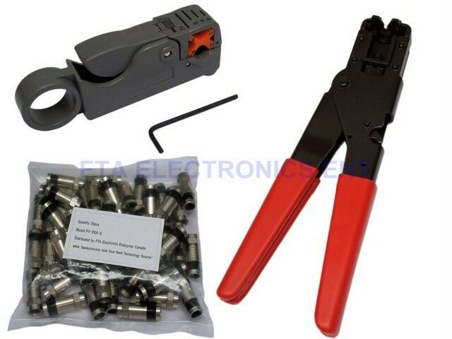 50pcs TV RG6 RG-6 Compression Connectors & Pro Tool with Cable Wire Stripper Kit