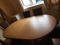 Oak Dining Table Set, 10 Chairs & Cabinet