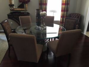 Dining Room Set 60 Round Glass Table with 6 Chairs
