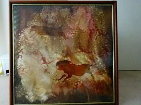 Hand painted on silk South African cave hunting scene
