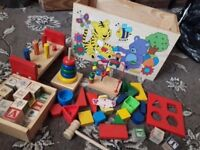 Lovely Kids Toy Chest with all sorts of learning and building toys for young children £6