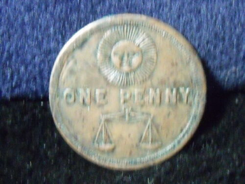 MASONIC ONE PENNY TOKEN COIN: WOODMEN OF THE WORLD DUMTACET CLAMAT T-104