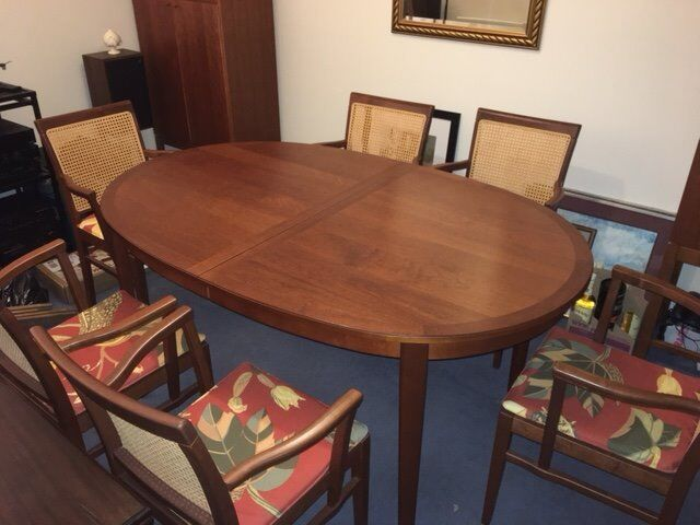 Cherry Dining Room Table 6 Chairs Drinks Cabinet And Storage Cupboard Matching Design