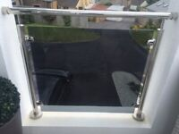 Five Sheets of Balustrade Glass 10mm Tinted Grey with radius corners