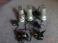 Set of 3 BT studio 1000 cordless Dect telephones