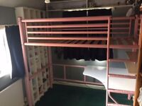 Jay-Be high sleeper bed with desk/futon in pink