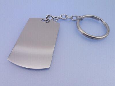 Edelstahl DOG TAG Schlüssel Anhänger GRAVUR Diamantgravur / Hochglanz Spaltring