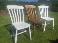 3 pine/painted farmhouse chairs £10