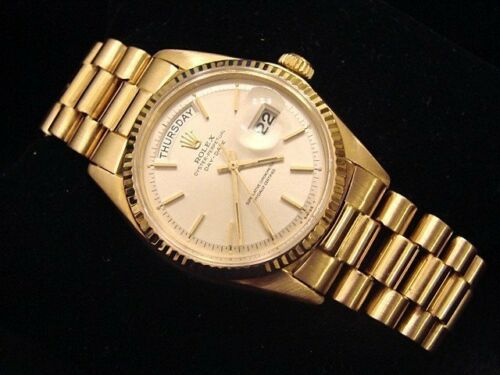 Mens Rolex Day-Date President Solid 18K Yellow Gold Watch Silver Vintage 1803 - watch picture 1