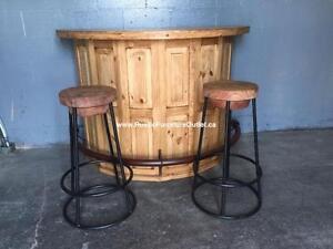 Solid wood Rustic pine bar kitchen island - Bar- îlot