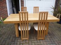 Solid Oak Dining Table & 4 High Back Upholstered Leather Chairs