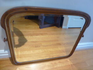 ANTIQUE WALNUT FRAMED BEVELED MIRROR
