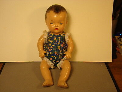 """VINTAGE COMPOSITION BABY DOLL, 12"""" TALL, UNMARKED"""