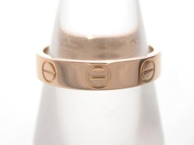 Authentic Cartier 18K Yellow Gold Mini Love Ring #49 (US size 4 5/8) HS2179