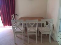 OAK FURNITURE LAND Bella Brushed Solid Oak Dining Table + 4 Chairs