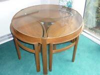 unusual teak coffee table with small tables can be used as stools