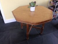 Beautiful old hexagonal wooden dining table