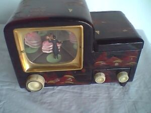 Vintage Black Lacquer Mother of Pearl Music Box Automaton