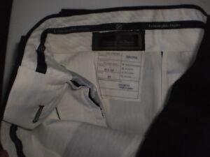 New Men's ERMENEGILDO ZEGNA Paris Black Dress Pants 32 Unhemmed
