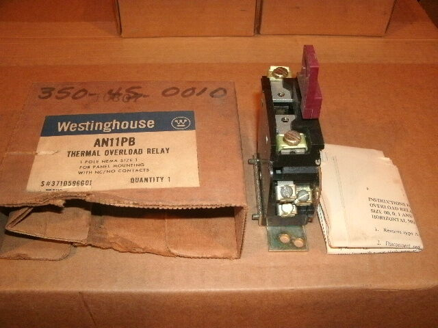 WESTINGHOUSE AN11PB OVERLOAD RELAYS,SIZE 1 MOTOR STARTER,NEW OLD STOCK part