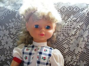 "28"" LIGHT BLONDE CURLY HAIR WALKER DOLL,BLUE DRESS,SHOES"