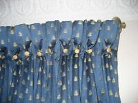 4 PAIRS OF BEAUTIFULLY INTERLINED CURTAINS IN A NAVY MONKWELL FABRIC, SOLD INDIVIDUALLY OR TOGETHER