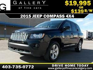 2015 Jeep Compass 4X4 North $139 bi-weekly APPLY NOW DRIVE NOW
