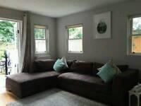 Brown suade corner sofa can deliver