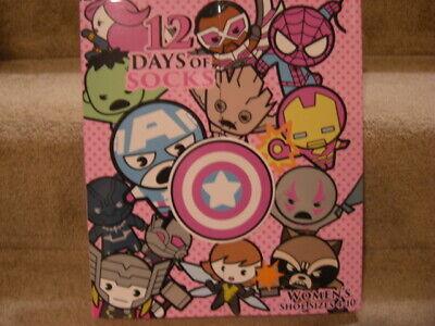 Womens Marvel 12 Days of Socks Christmas Advent Calendar Shoe Size 4-10
