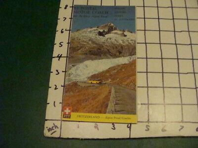 vintage brochure - MY POSTAL MOTOR COACH great alpine roads MAP SWITZERLAND
