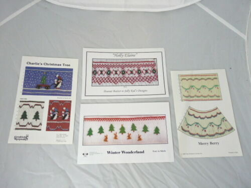 Four 4 Smocking Plates Christmas Designs Charlie