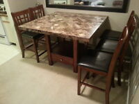 marble counter height dinnette