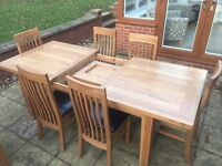 Solid Oak Dining Set- 180cm Extending Table & 6 Chairs